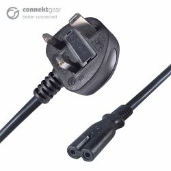 55ef830312 Computer Gear 27-0174 3m C7 coupler BS 1363 Black power cable (3M UK plug  to 2 pin C7 (Figure 8) Mains Power Cable Black)